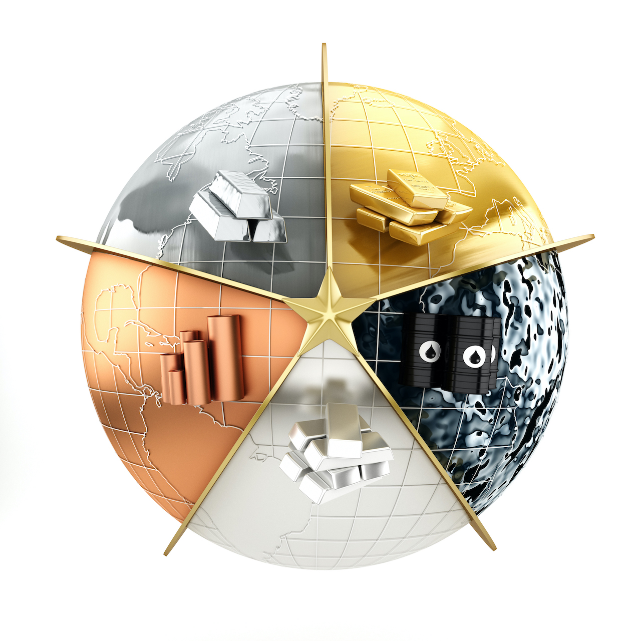 Popular investment tools: precious metals; gold, silver, copper, platinum and crude oil placed on a globe with earth map.